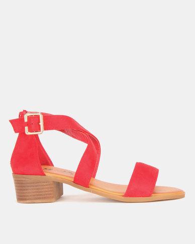 5948d6bb2a8 Model Me by Jada Microfibre Low Block Heels Classic Red