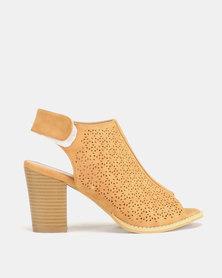 Jada City Girl by Ankle Strap Block Heels Tan
