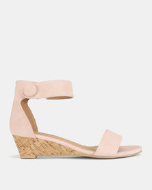 Tatazi by Jada Brush Nubuck Low Wedges Light Pink