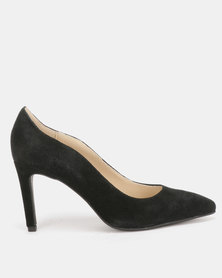 Utopia Suede Leather Pointy Courts Black
