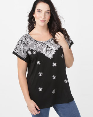 edde2d014be4c1 Queenspark Sparkle Puff Printed Knit Top Black White