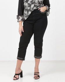 Queenspark Beading Trim Denim Capris Black