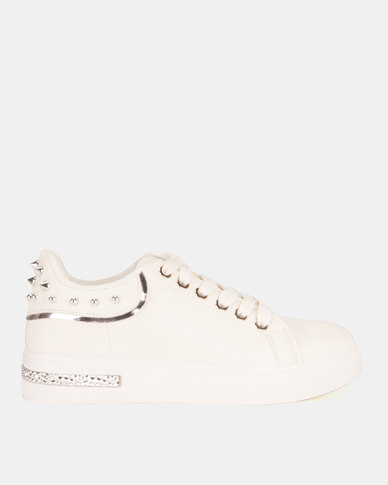 Miss Black Lele Lace Up Sneakers White