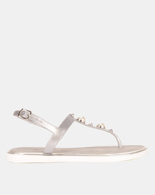 Miss Black Marwa Jelly Sandals Silver