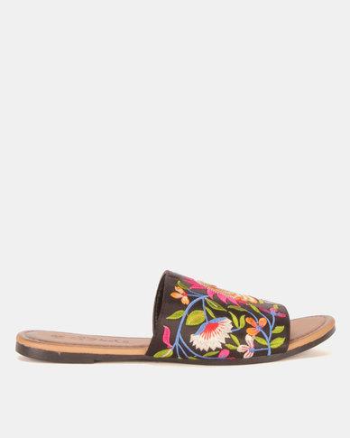Miss Black Sia Embroidered Sandals Black