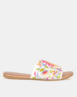 Miss Black Sia Embroidered Sandals White