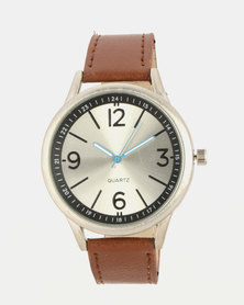 Digitime Dust Mens Blue Dial Leather Strap Watch Brown