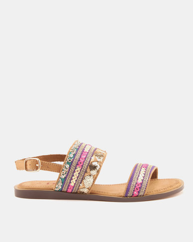 Utopia Embroidered Flat Sandals Pink