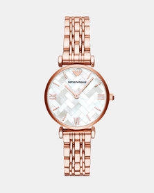 Emporio Armani Gianni T-Bar Watch Rose Gold