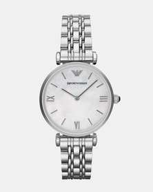 Emporio Armani Gianni T-Bar Leather Watch Silver