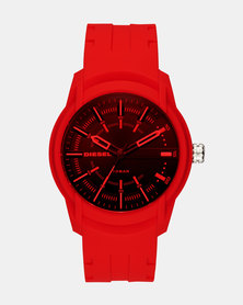 Diesel Armbar Silicon Watch Red