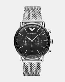 Emporio Armani Aviator Watch Silver