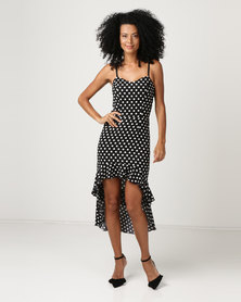 Sissy Boy Square Neckline With Spot & Frill Detail Maxi Dress Black & White