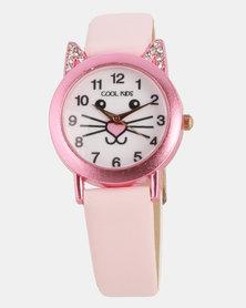 Cool Kids Girls Kitty Watch Pink