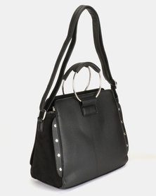 New Look Sasha Stud Metal Handle Crossbody Bag Black