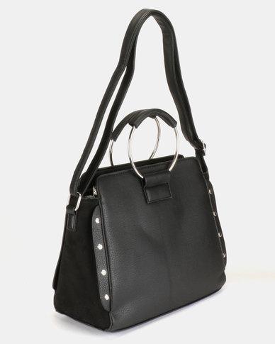 New Look Sasha Stud Metal Handle Crossbody Bag Black