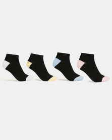 New Look 4 Pack Pastel H&T Trainer Socks Black
