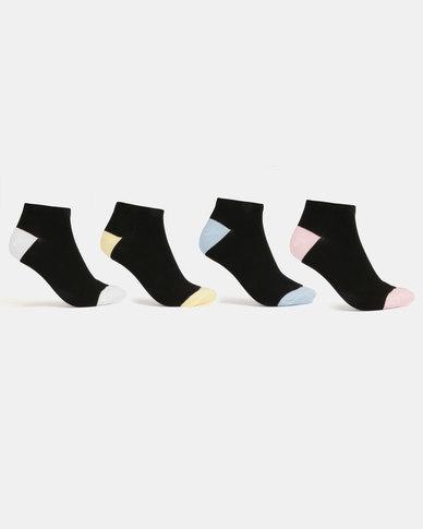 New Look 4 Pack Pastel H&T Trainer Socks Black