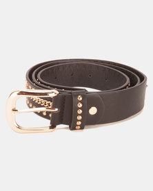 New Look Distressed Chain Stud Belt Black