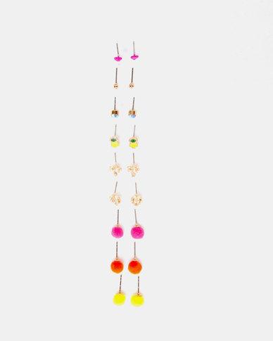 New Look 9 Pack Summer Fun Stud Earrings Multi Coloured