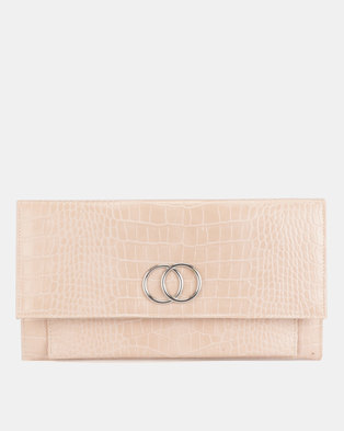 New Look Croc Verity Circle Clutch Bag Pink