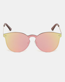 New Look Pearl Mirrored Preppy Sunglasses Pink