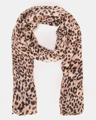 New Look Darcy Animal Print Scarf Light Brown