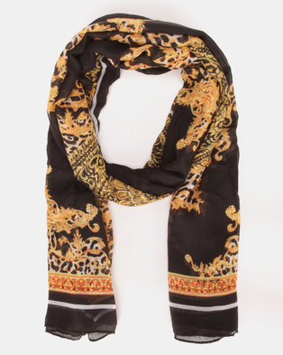 New Look Baroque Print Scarf Black Pattern