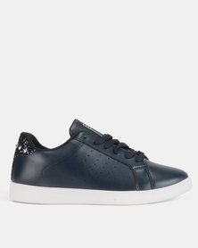 Soviet Lindsey Ladies Pu Lace Up With Crushed Glitter Detail Navy