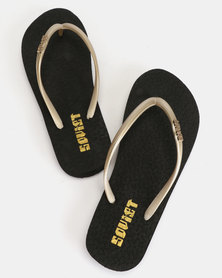 Soviet Rina Ladies Rubber Thong Sandals Black/Gold