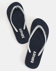 Soviet Rina Ladies Rubber Thong Sandals Navy/Silver