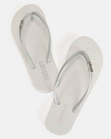 Soviet Rina Ladies Rubber Thong Sandals White/Silver
