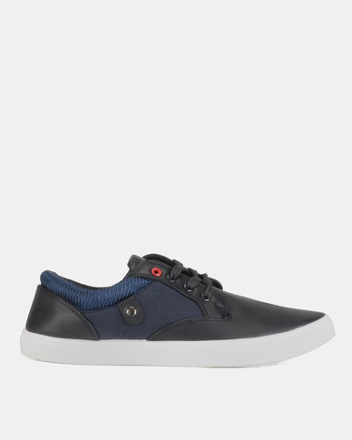 Soviet Piney Low Cut PU Lace Up Sneakers Navy