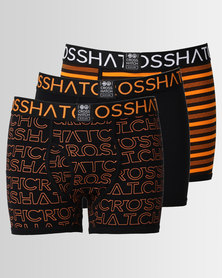 Crosshatch Logoline 3pk Bodyshort Black Orange