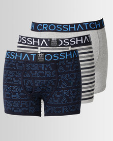 Crosshatch Logoline 3pk Bodyshort Grey Blue