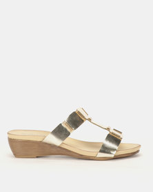 Foot Flex Slip On Wedges Gold