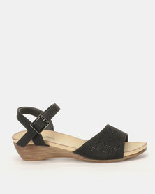 Foot Flex Ankle Strap Wedges Black