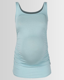 Cherry Melon Tank Top With Side Detail Aqua Blue