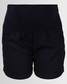 Cherry Melon Linen Shorts Navy