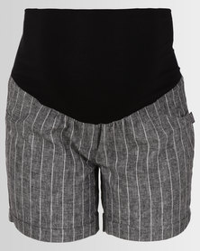Cherry Melon Linen Shorts Black/White