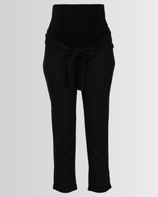 Cherry Melon Fashion Linen Pants Black