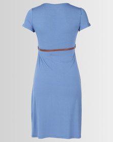 Cherry Melon Belted Scoop Neck Dress Cap Sleeve Denim Blue