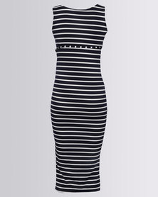 Cherry Melon Midi Tank Dress Navy/White Stripe