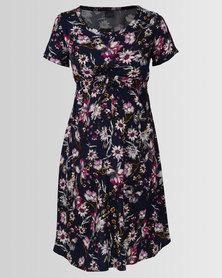 Cherry Melon Woven T-Shirt Dress Daisy Field Print