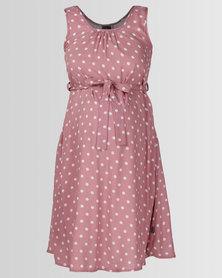 Cherry Melon Belted Tunic Dress Dusty Pink/White Spot