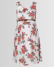 Cherry Melon Belted Tunic Dress Oriental Print Multi