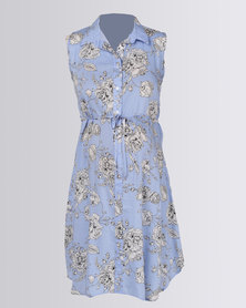 Cherry Melon Sleeveless Shirt Dress Blue Sketch Floral