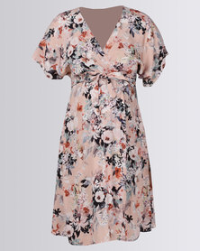 Cherry Melon Kimono Mock Wrap Dress Utopia Floral