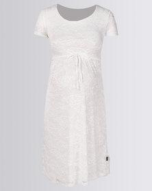 Cherry Melon Lace Scoop Neck Dress Cap Sleeve Ivory