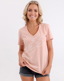 Fox Boltergeist V Neck T Shirt Blush